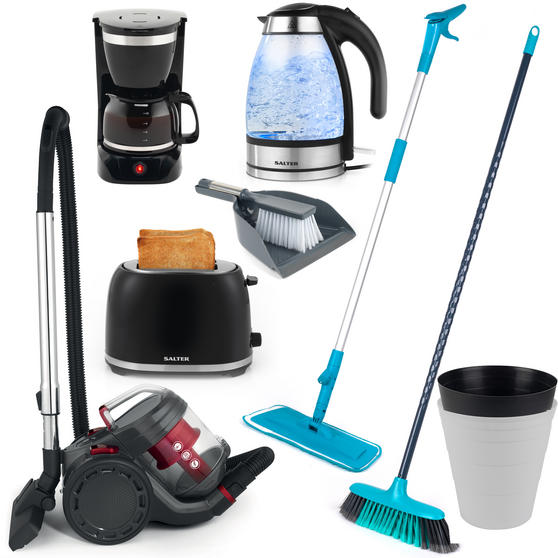 Landlord Box COMBO-3343 Cleaning Essentials, Kettle, Toaster and Coffee Maker, University Student House , 17 Piece Set