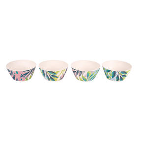 Cambridge CM06334 Reusable Dinnerware Bowls, 14 cm, Set of 4, Kayan Print | Dishwasher Safe | BPA Free | Alternative to Single Use Plastics Thumbnail 2
