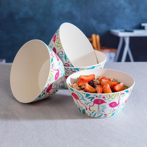 Cambridge CM06342 Eco Friendly Bamboo Dinnerware Bowls, Set of 4, Flamingo Print Thumbnail 3