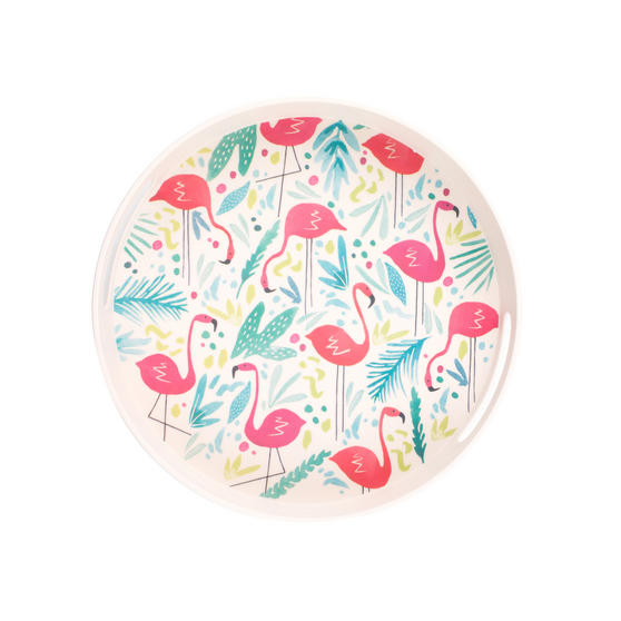 Cambridge CM06348 Flamingo Round Reusable Tray With Handles | Perfect for Serving Drinks at Parties