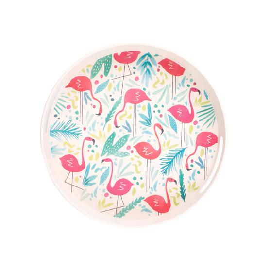 Cambridge Eco Friendly Bamboo Dinnerware Round Handled Tray, Flamingo Print