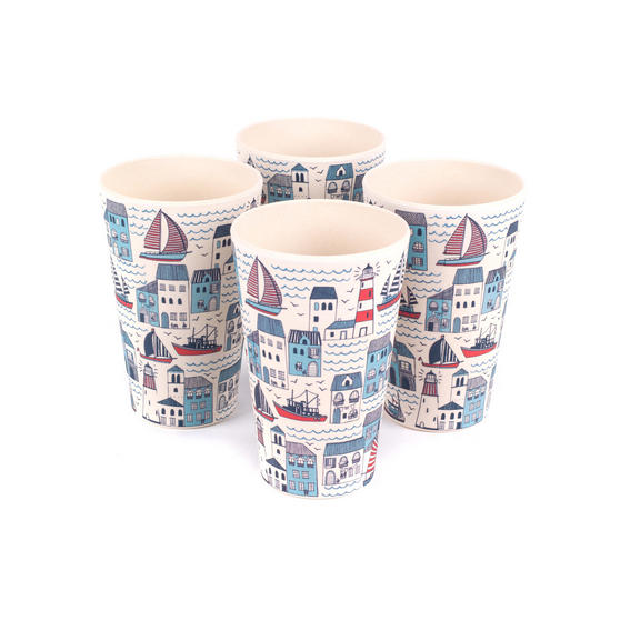 Cambridge Eco Friendly Bamboo Dinnerware Cups, Set of 4, Plymouth Print