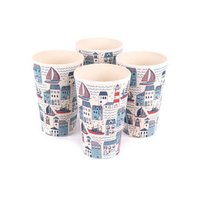 Cambridge CM06349 Eco Friendly Bamboo Dinnerware Cups, Set of 4, Plymouth Print Thumbnail 1