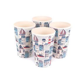 Cambridge CM06349 Lightweight Water Juice Reusable Cups, 400 ml, Set of 4, Plymouth Print | Dishwasher Safe | BPA Free | Alternative to Single Use Plastics