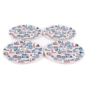 Cambridge CM06351 Eco Friendly Bamboo Dinner Plates, 25 CM, Set of 4, Plymouth Print Thumbnail 2