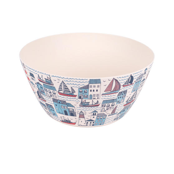 Cambridge Eco Friendly Bamboo Dinnerware Large Serving Bowl, Plymouth Print