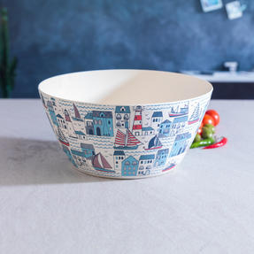 Cambridge CM06352 Eco Friendly Bamboo Dinnerware Large Serving Bowl, Plymouth Print Thumbnail 2
