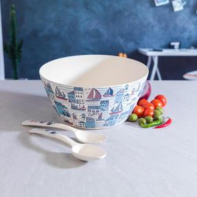 Cambridge CM06352 Eco Friendly Bamboo Dinnerware Large Serving Bowl, Plymouth Print Thumbnail 3