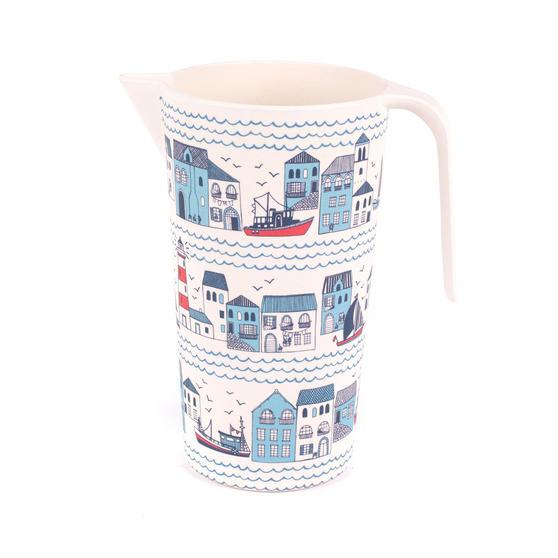 Cambridge Large Reusable Water Juice Jug, Pitcher, Carafe, 1.5 L, Plymouth Print | Dishwasher Safe | BPA Free | Alternative to Single Use Plastics