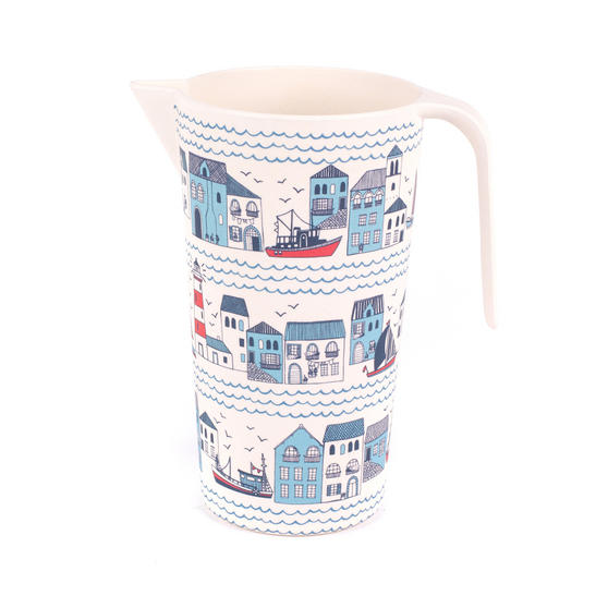 Cambridge Eco Friendly Bamboo Large Serving Jug, 1.5 Litres, Plymouth Print