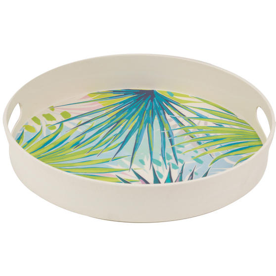 Cambridge Eco Friendly Bamboo Dinnerware Round Handled Tray, Kayan Print