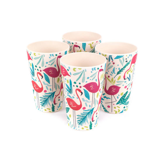 Cambridge CM06341 Lightweight Water Juice Reusable Cups, 400 ml, Set of 4, Flamingo Print | Dishwasher Safe | BPA Free | Alternative to Single Use Plastics