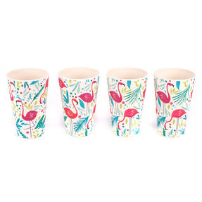 Cambridge CM06341 Lightweight Water Juice Reusable Cups, 400 ml, Set of 4, Flamingo Print | Dishwasher Safe | BPA Free | Alternative to Single Use Plastics Thumbnail 2