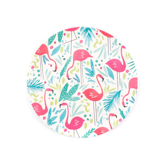 Cambridge Reusable Lightweight Dinner Plates, 25 cm, Flamingo Print, Set of 4 | Dishwasher Safe | BPA Free | Alternative to Single Use Plastics