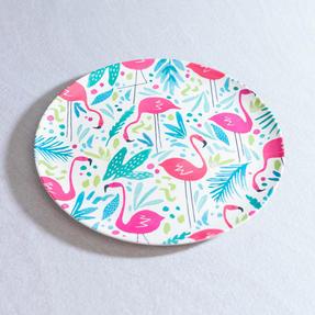 Cambridge CM06343 Eco Friendly Bamboo Dinner Plates, 25 CM, Set of 4, Flamingo Print Thumbnail 3