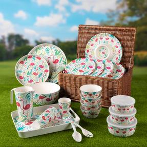 Cambridge CM06343 Reusable Lightweight Dinner Plates, 25 cm, Flamingo Print, Set of 4 | Dishwasher Safe | BPA Free | Alternative to Single Use Plastics Thumbnail 3
