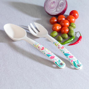Cambridge CM06345 Eco Friendly Bamboo Dinnerware Serving Utensils, Set of 2, Flamingo Print Thumbnail 2