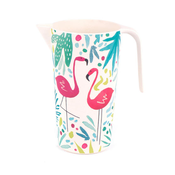 Cambridge Eco Friendly Bamboo Large Serving Jug, 1.5 Litres, Flamingo Print