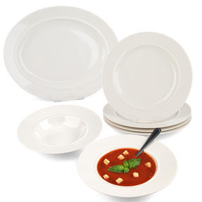 Alessi COMBO-2125 La Bella Tavola Porcelain Dinner Plate and Bowl Set with Serving Platter, 9 Piece Thumbnail 1