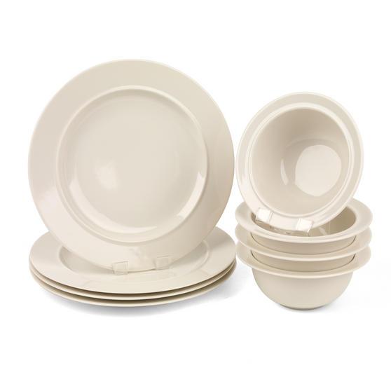 Alessi COMBO-3349 La Bella Tavola Porcelain Dinner Plate and Bowl Set, 8 Piece