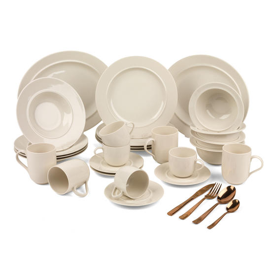 Alessi COMBO-3358 La Bella Tavola Porcelain Dinnerware Plates, Mugs, Bowls and Platter Set with Salter Rose Gold Cutlery, 38 Piece