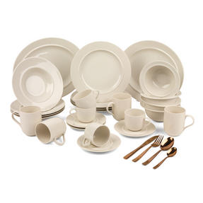 Alessi COMBO-3358 La Bella Tavola Porcelain Dinnerware Plates, Mugs, Bowls and Platter Set with Salter Rose Gold Cutlery, 38 Piece Thumbnail 1