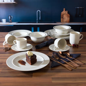 Alessi COMBO-3358 La Bella Tavola Porcelain Dinnerware Plates, Mugs, Bowls and Platter Set with Salter Rose Gold Cutlery, 38 Piece Thumbnail 3