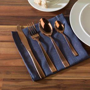 Alessi COMBO-3358 La Bella Tavola Porcelain Dinnerware Plates, Mugs, Bowls and Platter Set with Salter Rose Gold Cutlery, 38 Piece Thumbnail 4