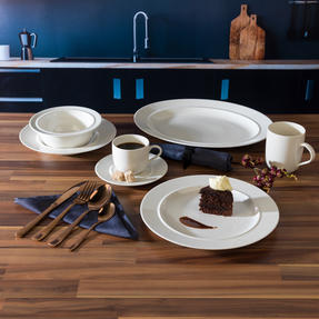 Alessi COMBO-3358 La Bella Tavola Porcelain Dinnerware Plates, Mugs, Bowls and Platter Set with Salter Rose Gold Cutlery, 38 Piece Thumbnail 5