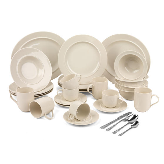 Alessi COMBO-3359 La Bella Tavola Porcelain Dinnerware Plates, Mugs, Bowls and Platter Set with Salter Buxton Cutlery, 76 Piece