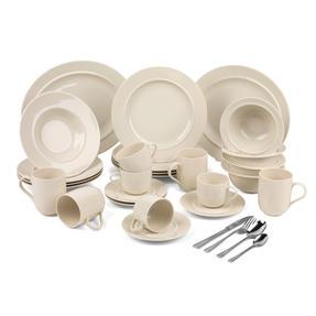 Alessi COMBO-3359 La Bella Tavola Porcelain Dinnerware Plates, Mugs, Bowls and Platter Set with Salter Buxton Cutlery, 76 Piece Thumbnail 1
