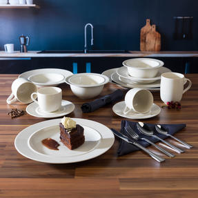 Alessi COMBO-3359 La Bella Tavola Porcelain Dinnerware Plates, Mugs, Bowls and Platter Set with Salter Buxton Cutlery, 76 Piece Thumbnail 3