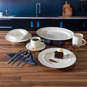 Alessi COMBO-3359 La Bella Tavola Porcelain Dinnerware Plates, Mugs, Bowls and Platter Set with Salter Buxton Cutlery, 76 Piece Thumbnail 4