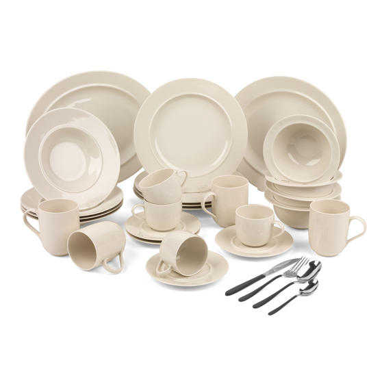 Alessi COMBO-3360 La Bella Tavola Porcelain Dinnerware Plates, Mugs, Bowls and Platter Set with Salter Silver and Black Cutlery, 38 Piece