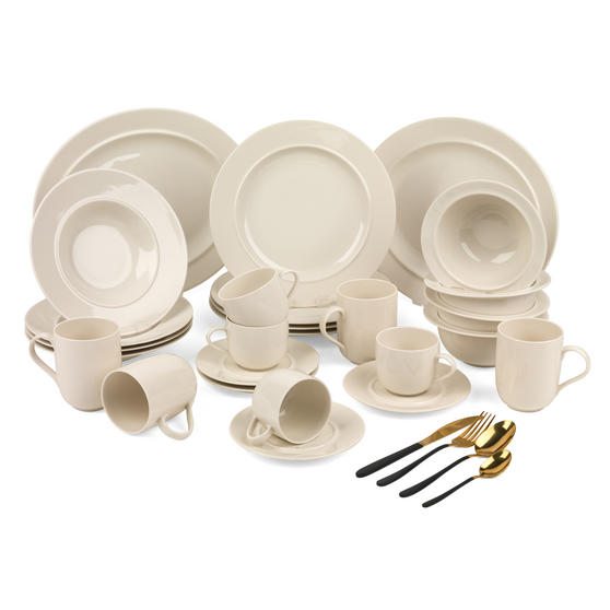 Alessi COMBO-3361 La Bella Tavola Porcelain Dinnerware Plates, Mugs, Bowls and Platter Set with Salter Gold and Black Cutlery, 38 Piece