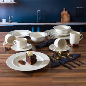 Alessi COMBO-3361 La Bella Tavola Porcelain Dinnerware Plates, Mugs, Bowls and Platter Set with Salter Gold and Black Cutlery, 38 Piece Thumbnail 3