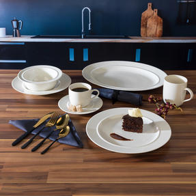 Alessi COMBO-3361 La Bella Tavola Porcelain Dinnerware Plates, Mugs, Bowls and Platter Set with Salter Gold and Black Cutlery, 38 Piece Thumbnail 4