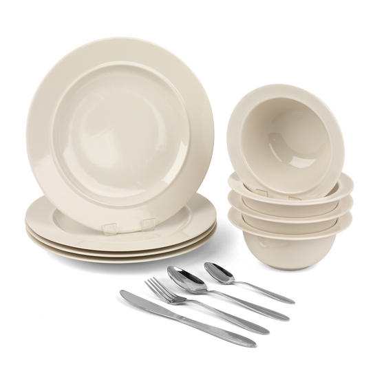 Alessi COMBO-3258 La Bella Tavola Porcelain Dinner Plates and Cereal Bowls with 16 Piece Progress Cutlery Set