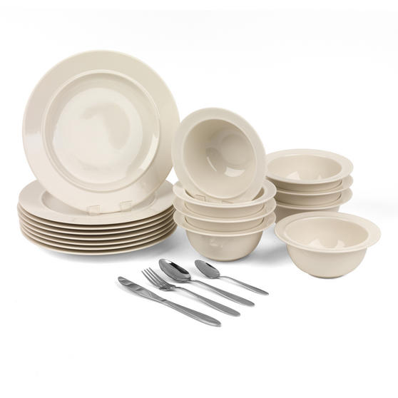 Alessi COMBO-3259 La Bella Tavola Porcelain Dinner Plates and Cereal Bowls with 32 Piece Progress Cutlery Set
