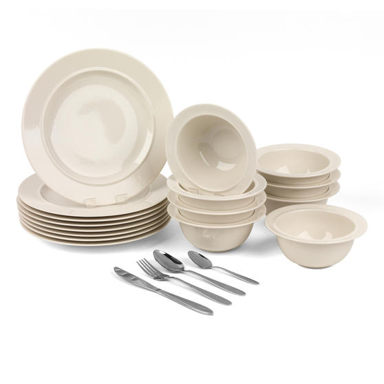 Alessi COMBO-3259 La Bella Tavola Porcelain Dinner Plates and Cereal Bowls with 32 Piece Progress Leyland Cutlery Set | Dishwasher Safe Dinnerware | For Domestic & Commercial Use