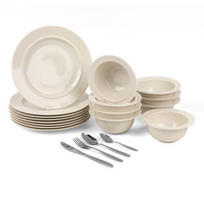 Alessi COMBO-3259 La Bella Tavola Porcelain Dinner Plates and Cereal Bowls with 32 Piece Progress Cutlery Set Thumbnail 1