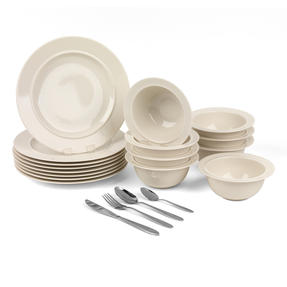 Alessi COMBO-3259 La Bella Tavola Porcelain Dinner Plates and Cereal Bowls with 32 Piece Progress Leyland Cutlery Set | Dishwasher Safe Dinnerware | For Domestic & Commercial Use Thumbnail 1