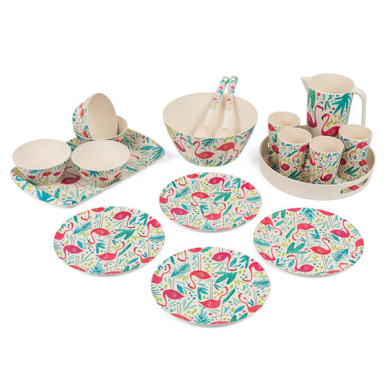 Cambridge COMBO-3138 Flamingos Bamboo Eco-Friendly Tableware - 4 Place Setting
