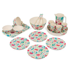 Cambridge COMBO-3138 Flamingos Bamboo Eco-Friendly Tableware - 4 Place Setting Thumbnail 1