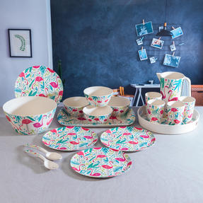 Cambridge COMBO-3138 Flamingos Bamboo Eco-Friendly Tableware - 4 Place Setting Thumbnail 10