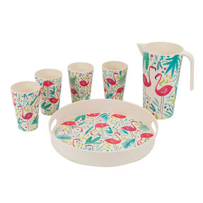 Cambridge COMBO-3138 Flamingos Bamboo Eco-Friendly Tableware - 4 Place Setting Thumbnail 12