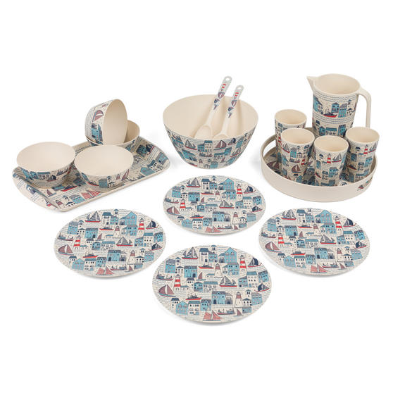 Cambridge COMBO-3141 Plymouth Bamboo Eco-Friendly Tableware - 8 Place Setting