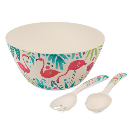 Cambridge COMBO-3144 Flamingos Bamboo Eco-Friendly Serving Bowl and Two Utensils