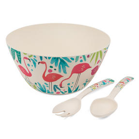 Cambridge COMBO-3144 Flamingos Bamboo Eco-Friendly Serving Bowl and Two Utensils Thumbnail 1