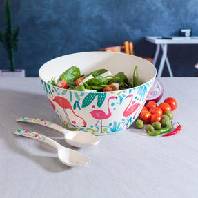 Cambridge COMBO-3144 Flamingos Bamboo Eco-Friendly Serving Bowl and Two Utensils Thumbnail 3